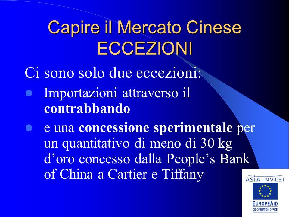 Capire il Mercato Cinese ECCEZIONI Ci sono solo due eccezioni: Importazioni attraverso il contrabbando e una concessione sperimentale per un quantitativo di meno di 30 kg doro concesso dalla Peoples Bank of China a Cartier e Tiffany
