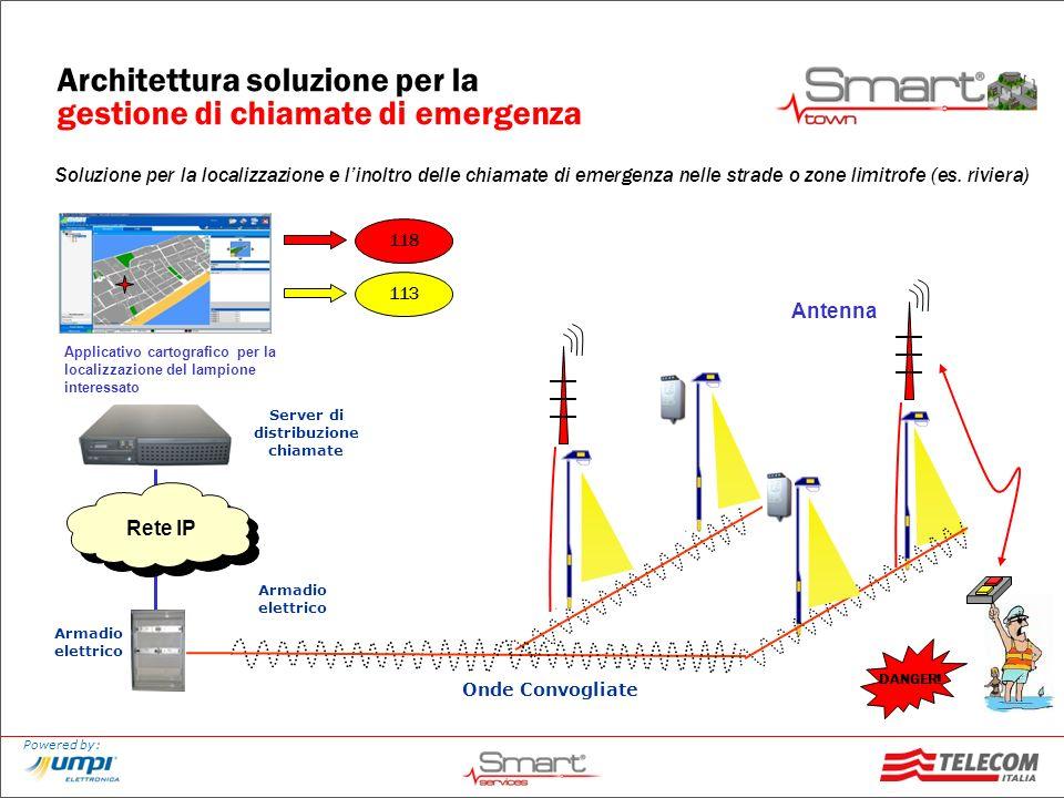 Powered by: Architettura soluzione per la gestione di chiamate di emergenza Soluzione per la localizzazione e linoltro delle chiamate di emergenza nel