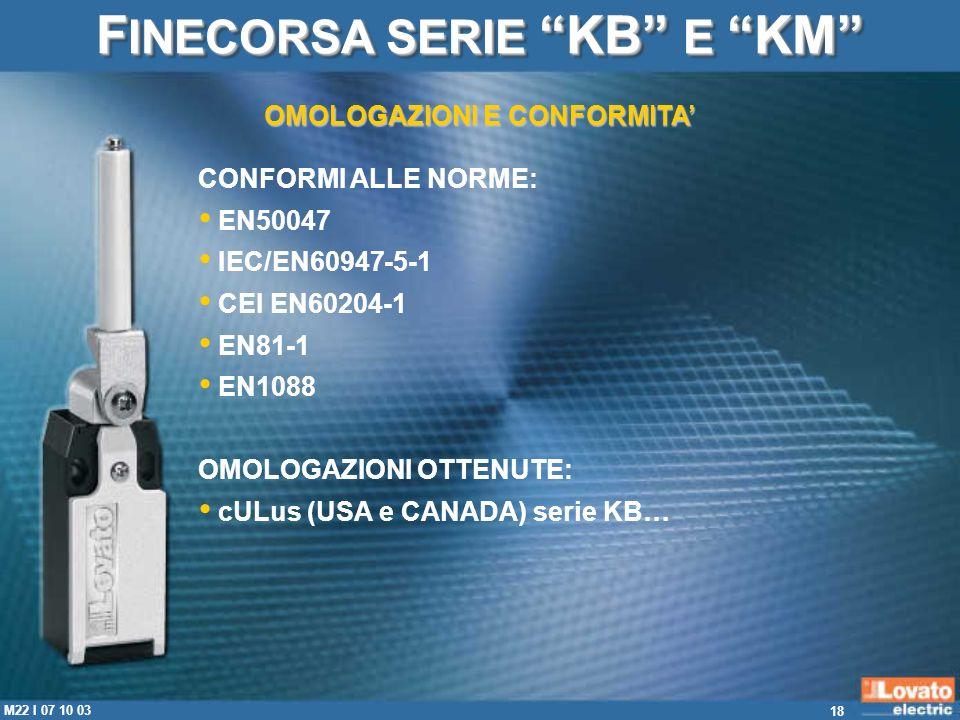 18 M22 I 07 10 03 CONFORMI ALLE NORME: EN50047 IEC/EN60947-5-1 CEI EN60204-1 EN81-1 EN1088 OMOLOGAZIONI OTTENUTE: cULus (USA e CANADA) serie KB… OMOLO