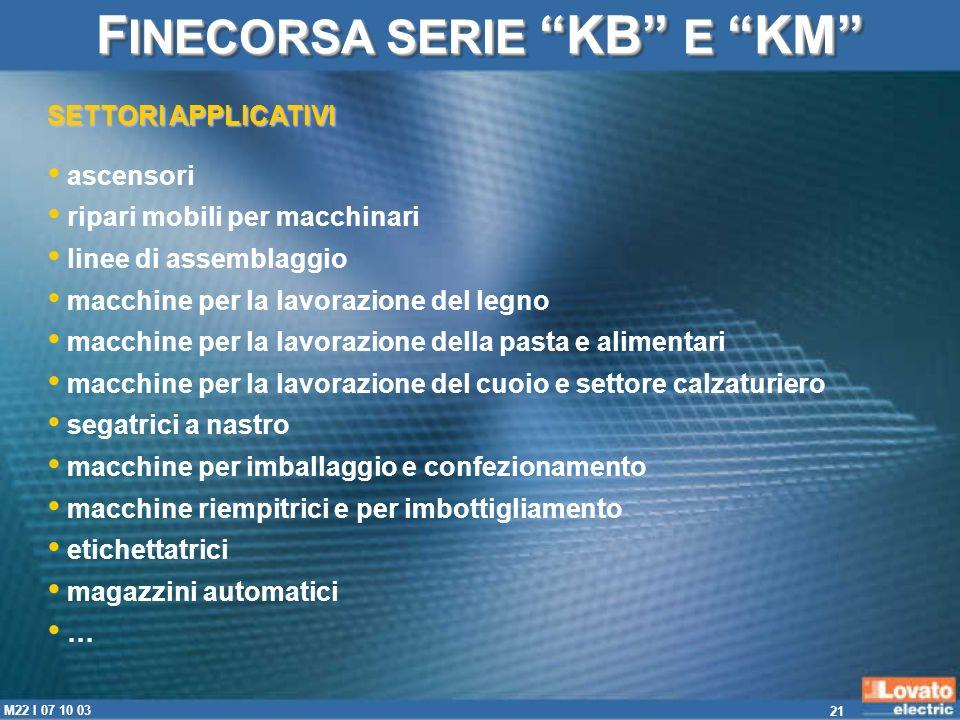 21 M22 I 07 10 03 SETTORI APPLICATIVI F INECORSA SERIE KB E KM ascensori ripari mobili per macchinari linee di assemblaggio macchine per la lavorazion