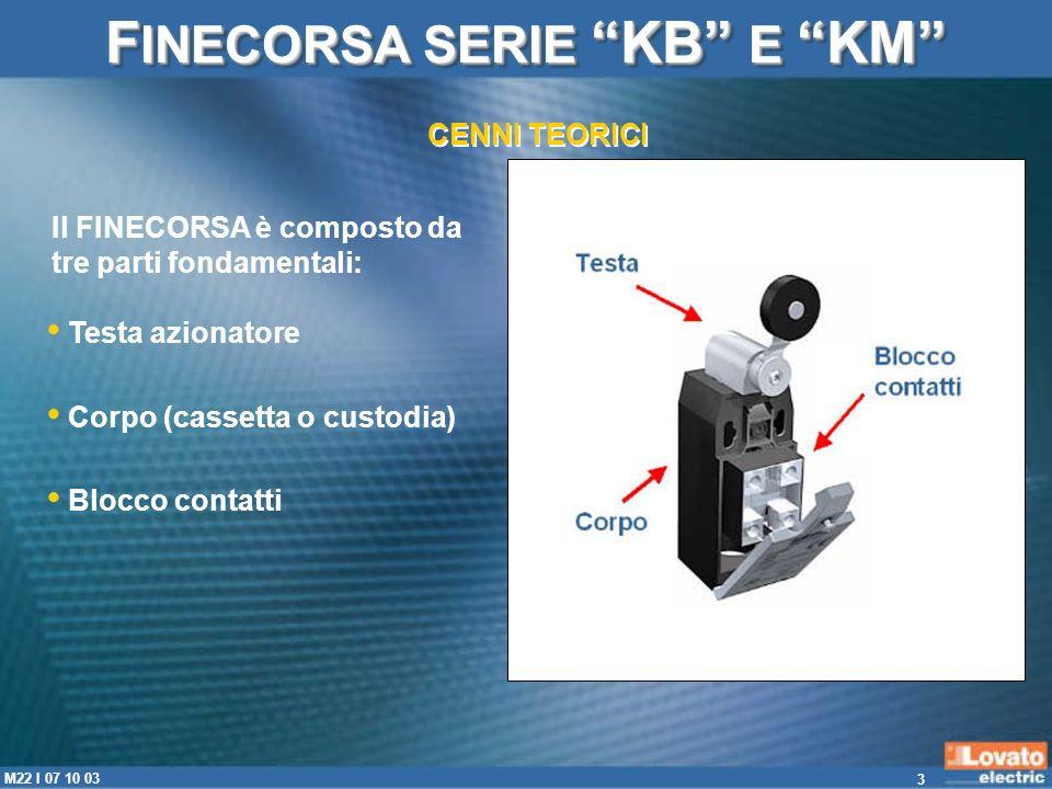 3 M22 I 07 10 03 F INECORSA SERIE KB E KM CENNI TEORICI Il FINECORSA è composto da tre parti fondamentali: Testa azionatore Corpo (cassetta o custodia
