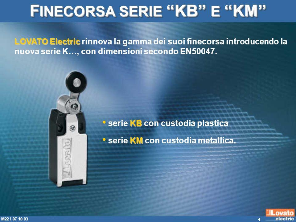 15 M22 I 07 10 03 F INECORSA SERIE KB E KM custodie con ingresso cavi M20 (su richiesta sono forniti finecorsa con ingresso cavi PG13,5).