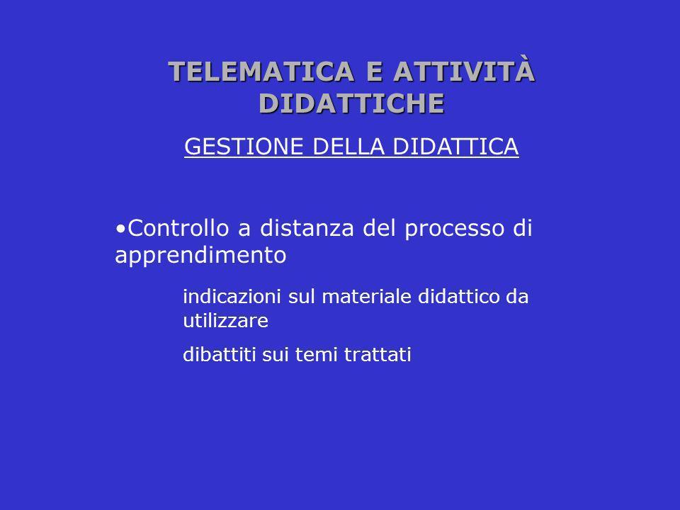 TELEMATICA E ATTIVITÀ DIDATTICHE GESTIONE DELLA DIDATTICA Controllo a distanza del processo di apprendimento indicazioni sul materiale didattico da ut