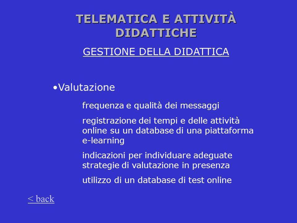 TELEMATICA E ATTIVITÀ DIDATTICHE GESTIONE DELLA DIDATTICA Valutazione frequenza e qualità dei messaggi registrazione dei tempi e delle attività online