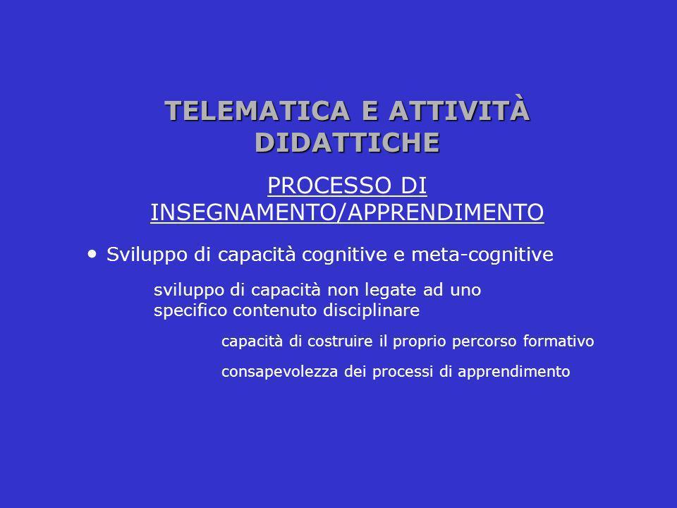TELEMATICA E ATTIVITÀ DIDATTICHE PROCESSO DI INSEGNAMENTO/APPRENDIMENTO Sviluppo di capacità cognitive e meta-cognitive sviluppo di capacità non legat