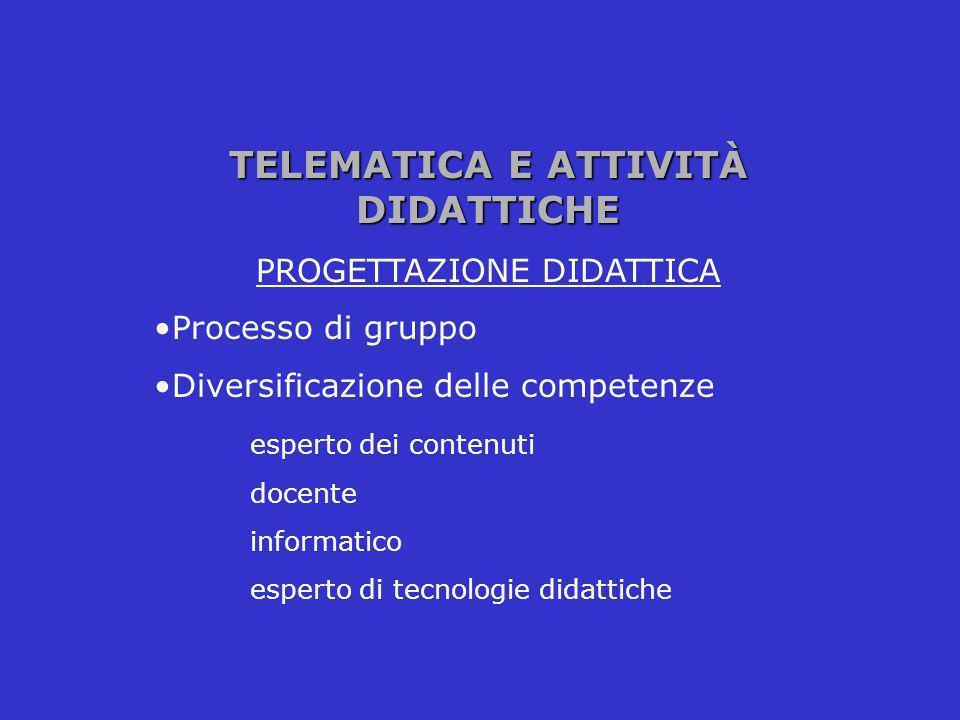 TELEMATICA E ATTIVITÀ DIDATTICHE PROGETTAZIONE DIDATTICA Processo di gruppo Diversificazione delle competenze esperto dei contenuti docente informatic