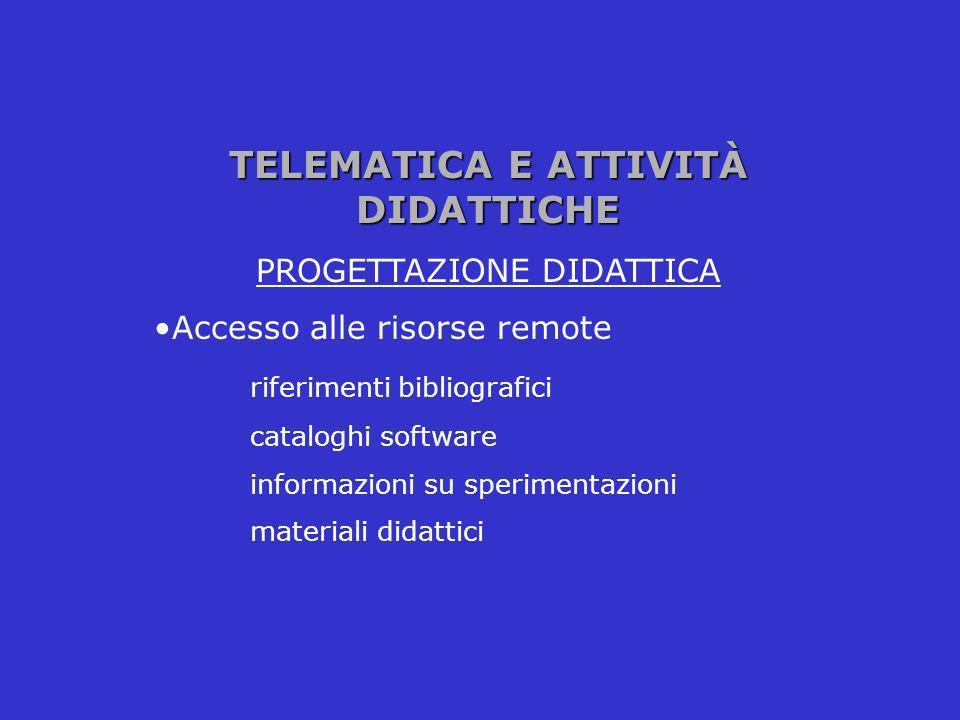 TELEMATICA E ATTIVITÀ DIDATTICHE PROGETTAZIONE DIDATTICA Accesso alle risorse remote riferimenti bibliografici cataloghi software informazioni su sper