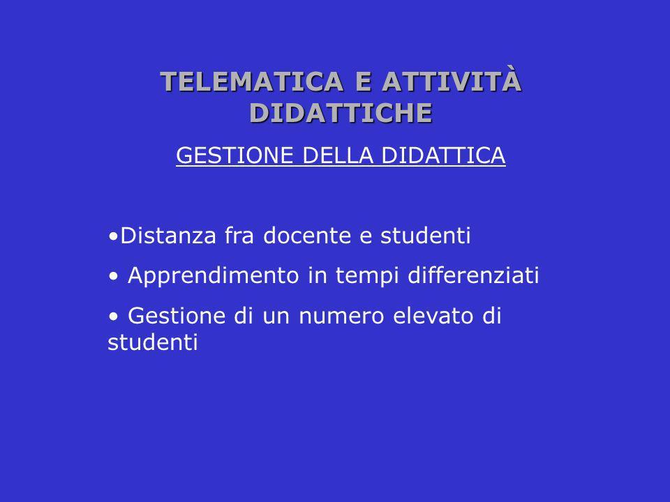 TELEMATICA E ATTIVITÀ DIDATTICHE GESTIONE DELLA DIDATTICA Distanza fra docente e studenti Apprendimento in tempi differenziati Gestione di un numero e