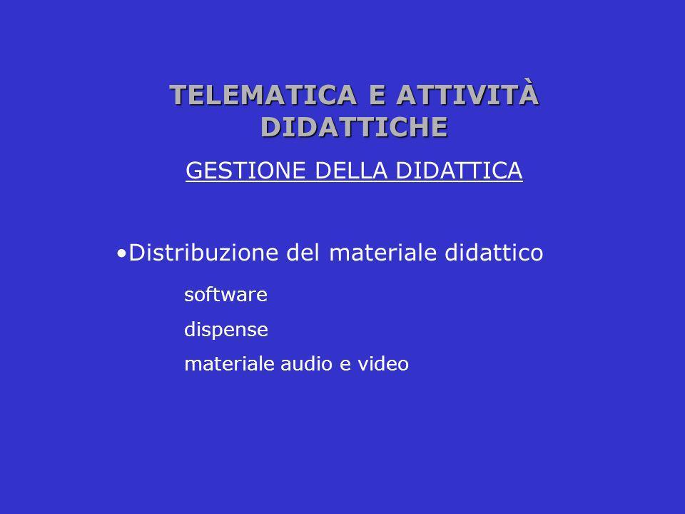TELEMATICA E ATTIVITÀ DIDATTICHE GESTIONE DELLA DIDATTICA Distribuzione del materiale didattico software dispense materiale audio e video