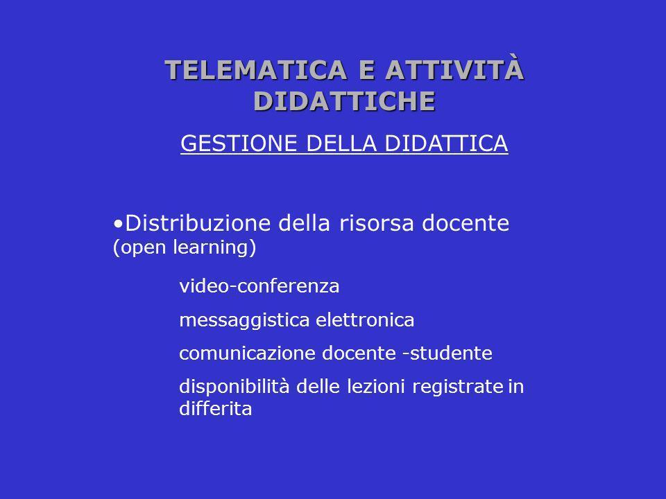 TELEMATICA E ATTIVITÀ DIDATTICHE GESTIONE DELLA DIDATTICA Distribuzione della risorsa docente (open learning) video-conferenza messaggistica elettroni