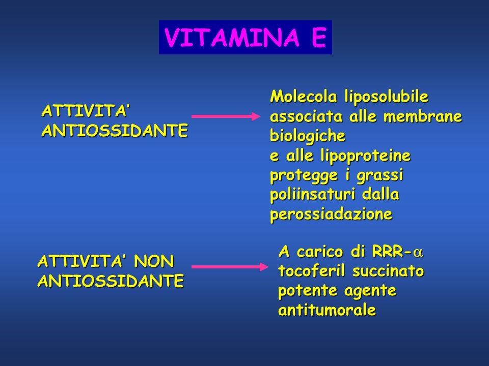 ATTIVITA ANTIOSSIDANTE Molecola liposolubile associata alle membrane biologiche e alle lipoproteine protegge i grassi poliinsaturi dalla perossiadazio