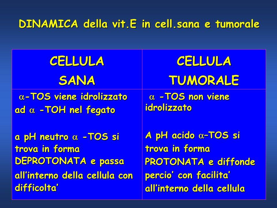 CELLULASANACELLULATUMORALE -TOS viene idrolizzato -TOS viene idrolizzato ad -TOH nel fegato a pH neutro -TOS si trova in forma DEPROTONATA e passa all