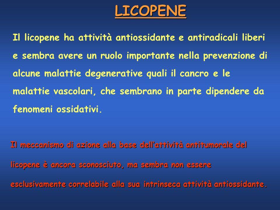 LICOPENE Il licopene ha attività antiossidante e antiradicali liberi e sembra avere un ruolo importante nella prevenzione di alcune malattie degenerat