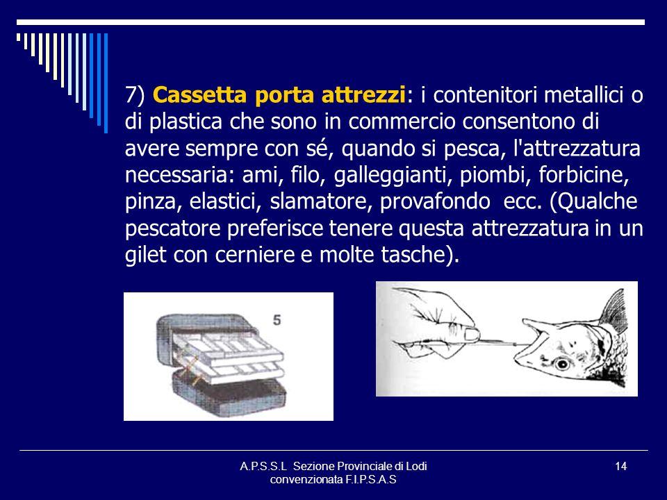 A.P.S.S.L Sezione Provinciale di Lodi convenzionata F.I.P.S.A.S 14 7) Cassetta porta attrezzi: i contenitori metallici o di plastica che sono in comme