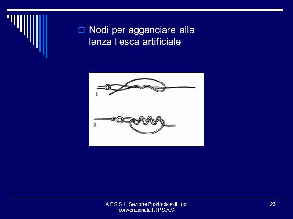 A.P.S.S.L Sezione Provinciale di Lodi convenzionata F.I.P.S.A.S 23 Nodi per agganciare alla lenza lesca artificiale