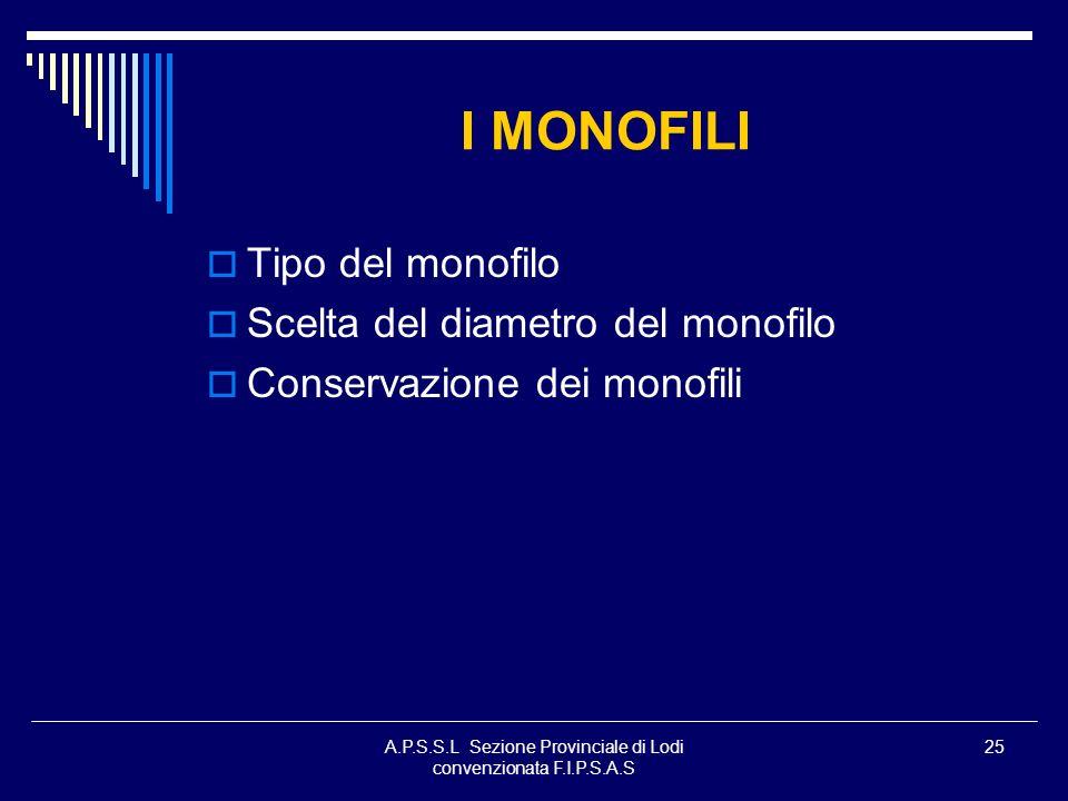 A.P.S.S.L Sezione Provinciale di Lodi convenzionata F.I.P.S.A.S 25 I MONOFILI Tipo del monofilo Scelta del diametro del monofilo Conservazione dei mon