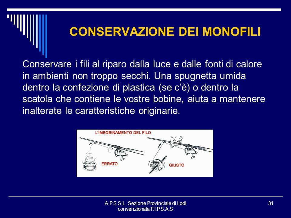A.P.S.S.L Sezione Provinciale di Lodi convenzionata F.I.P.S.A.S 31 CONSERVAZIONE DEI MONOFILI Conservare i fili al riparo dalla luce e dalle fonti di