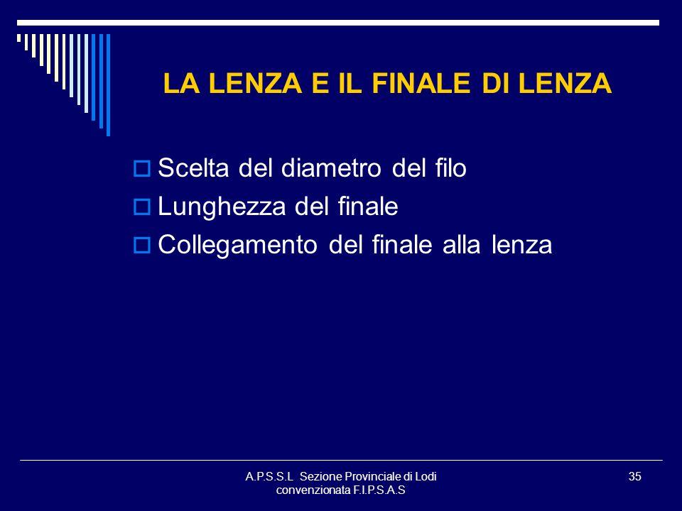 A.P.S.S.L Sezione Provinciale di Lodi convenzionata F.I.P.S.A.S 35 LA LENZA E IL FINALE DI LENZA Scelta del diametro del filo Lunghezza del finale Col