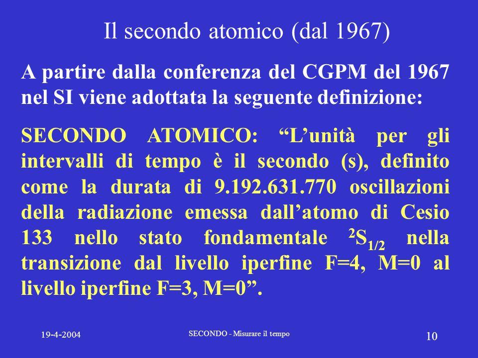 19-4-2004 SECONDO - Misurare il tempo 10 Il secondo atomico (dal 1967) A partire dalla conferenza del CGPM del 1967 nel SI viene adottata la seguente