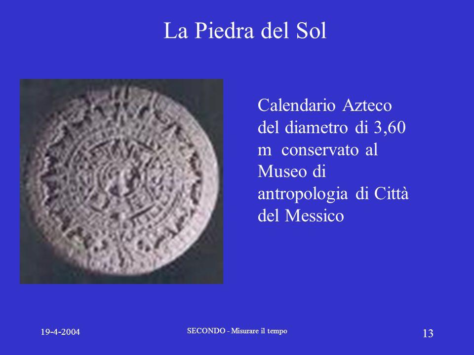 19-4-2004 SECONDO - Misurare il tempo 13 La Piedra del Sol Calendario Azteco del diametro di 3,60 m conservato al Museo di antropologia di Città del M