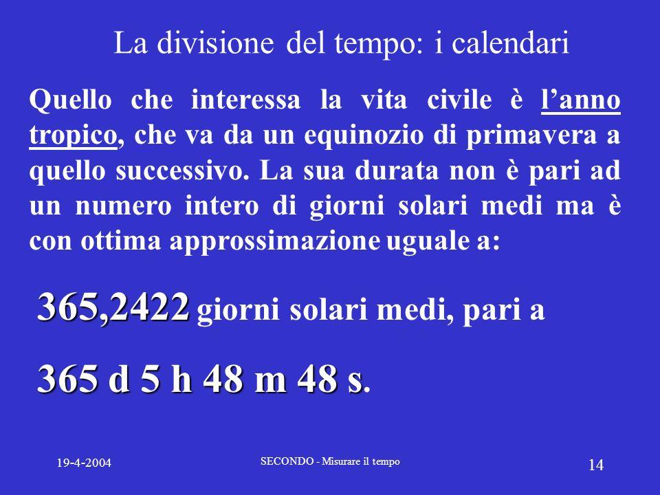 19-4-2004 SECONDO - Misurare il tempo 14 La divisione del tempo: i calendari Quello che interessa la vita civile è lanno tropico, che va da un equinoz