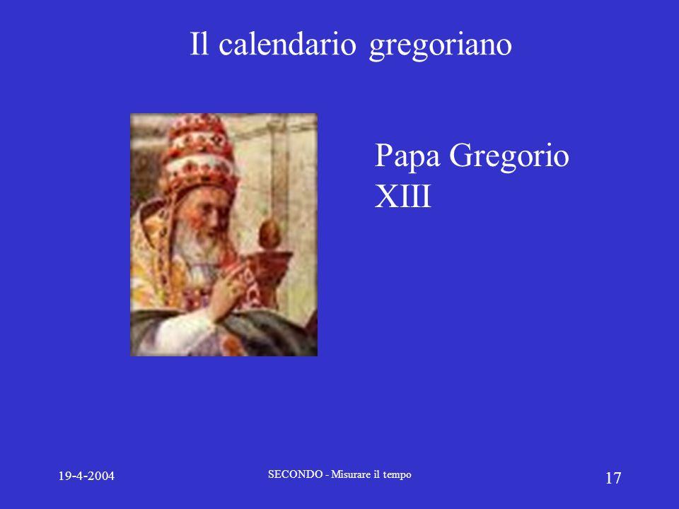 19-4-2004 SECONDO - Misurare il tempo 17 Il calendario gregoriano Papa Gregorio XIII