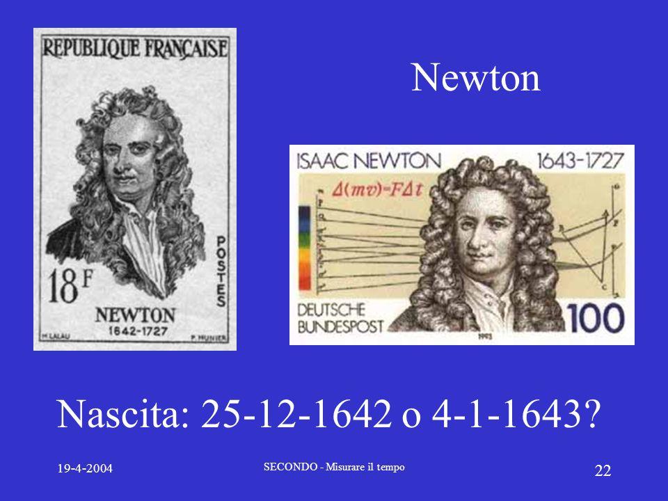 19-4-2004 SECONDO - Misurare il tempo 22 Newton Nascita: 25-12-1642 o 4-1-1643?