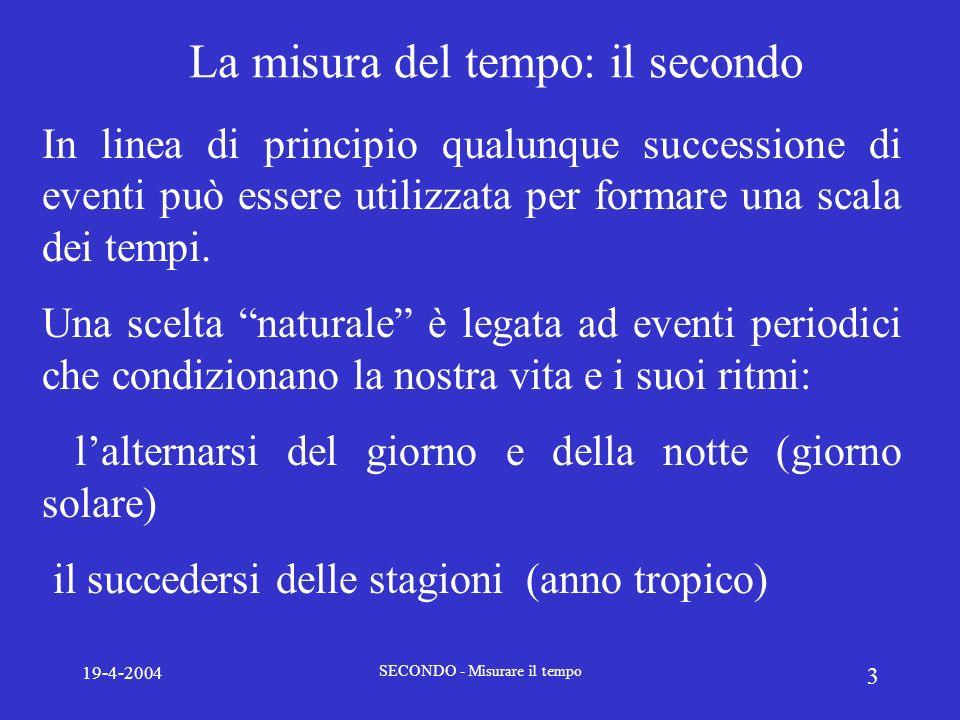 19-4-2004 SECONDO - Misurare il tempo 3 La misura del tempo: il secondo In linea di principio qualunque successione di eventi può essere utilizzata pe