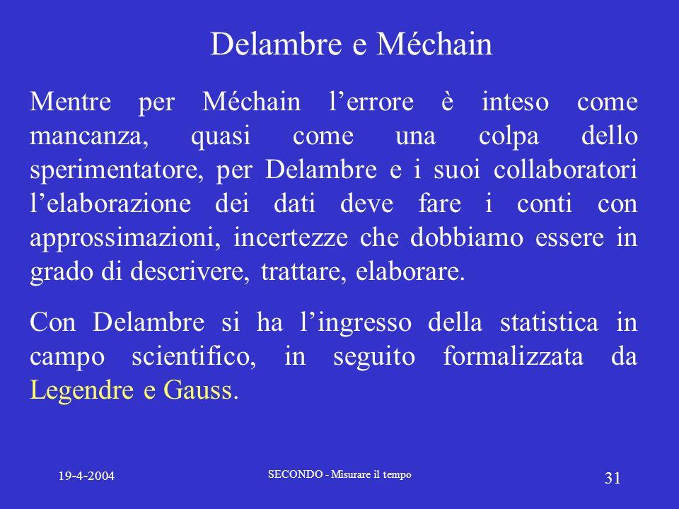 19-4-2004 SECONDO - Misurare il tempo 31 Delambre e Méchain Mentre per Méchain lerrore è inteso come mancanza, quasi come una colpa dello sperimentato