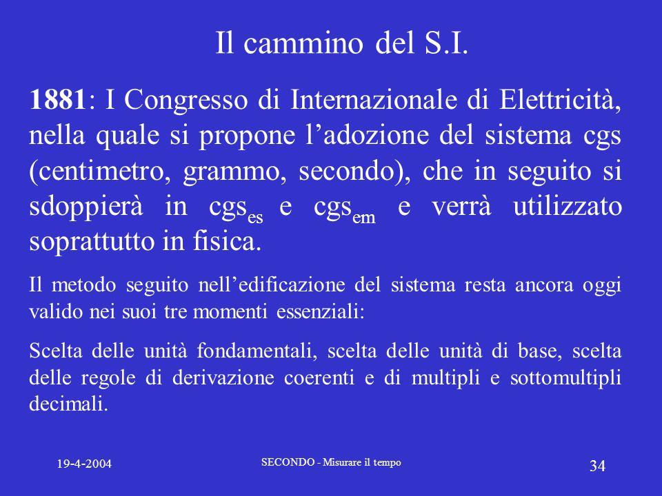 19-4-2004 SECONDO - Misurare il tempo 34 Il cammino del S.I. 1881: I Congresso di Internazionale di Elettricità, nella quale si propone ladozione del