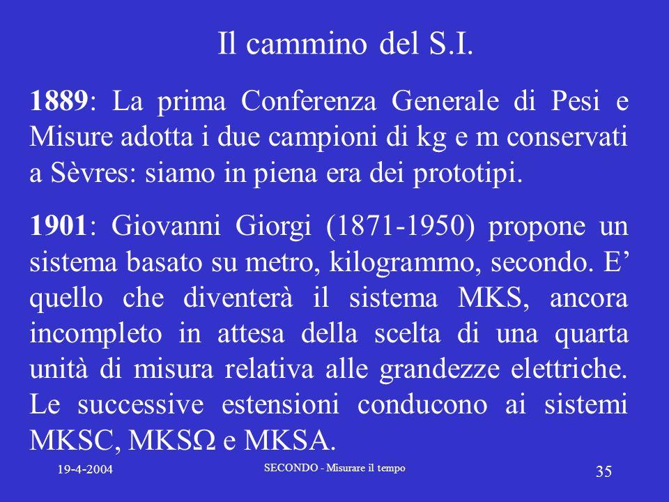 19-4-2004 SECONDO - Misurare il tempo 35 Il cammino del S.I. 1889: La prima Conferenza Generale di Pesi e Misure adotta i due campioni di kg e m conse