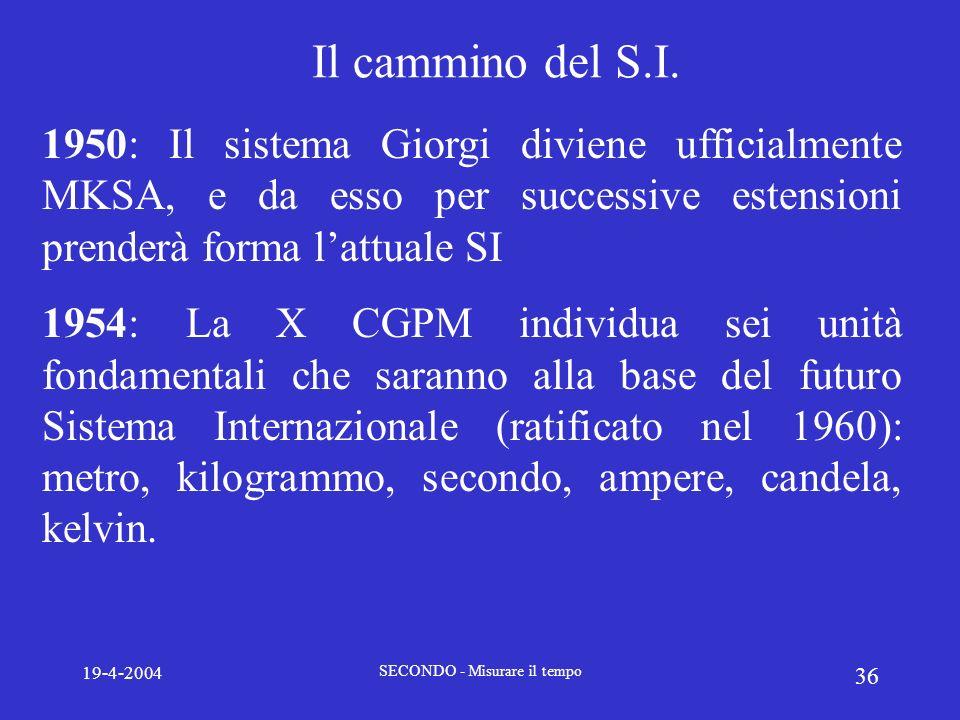 19-4-2004 SECONDO - Misurare il tempo 36 Il cammino del S.I. 1950: Il sistema Giorgi diviene ufficialmente MKSA, e da esso per successive estensioni p