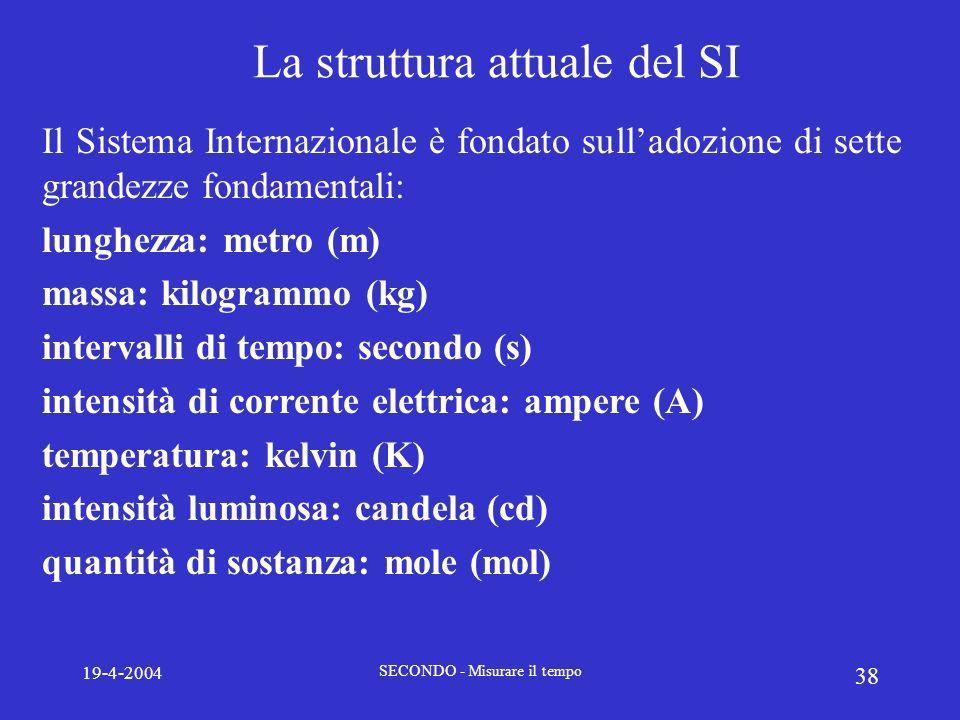 19-4-2004 SECONDO - Misurare il tempo 38 La struttura attuale del SI Il Sistema Internazionale è fondato sulladozione di sette grandezze fondamentali:
