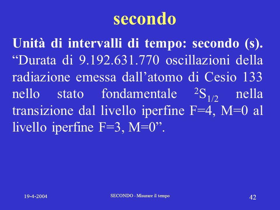 19-4-2004 SECONDO - Misurare il tempo 42 secondo Unità di intervalli di tempo: secondo (s). Durata di 9.192.631.770 oscillazioni della radiazione emes