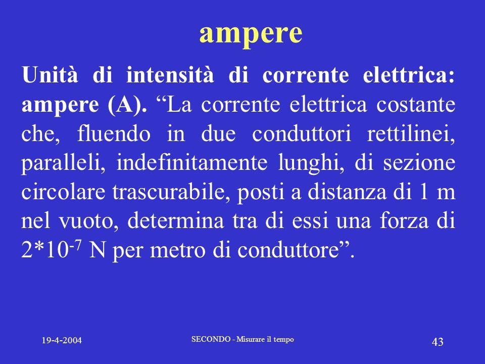 19-4-2004 SECONDO - Misurare il tempo 43 ampere Unità di intensità di corrente elettrica: ampere (A). La corrente elettrica costante che, fluendo in d