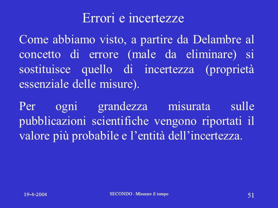 19-4-2004 SECONDO - Misurare il tempo 51 Errori e incertezze Come abbiamo visto, a partire da Delambre al concetto di errore (male da eliminare) si so