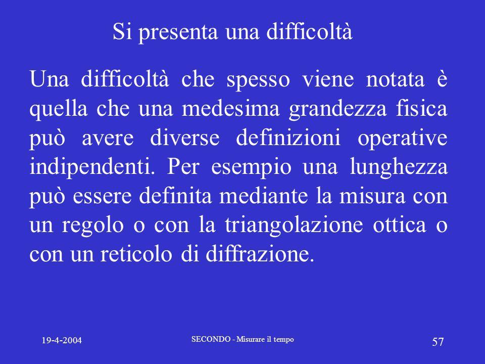 19-4-2004 SECONDO - Misurare il tempo 57 Si presenta una difficoltà Una difficoltà che spesso viene notata è quella che una medesima grandezza fisica