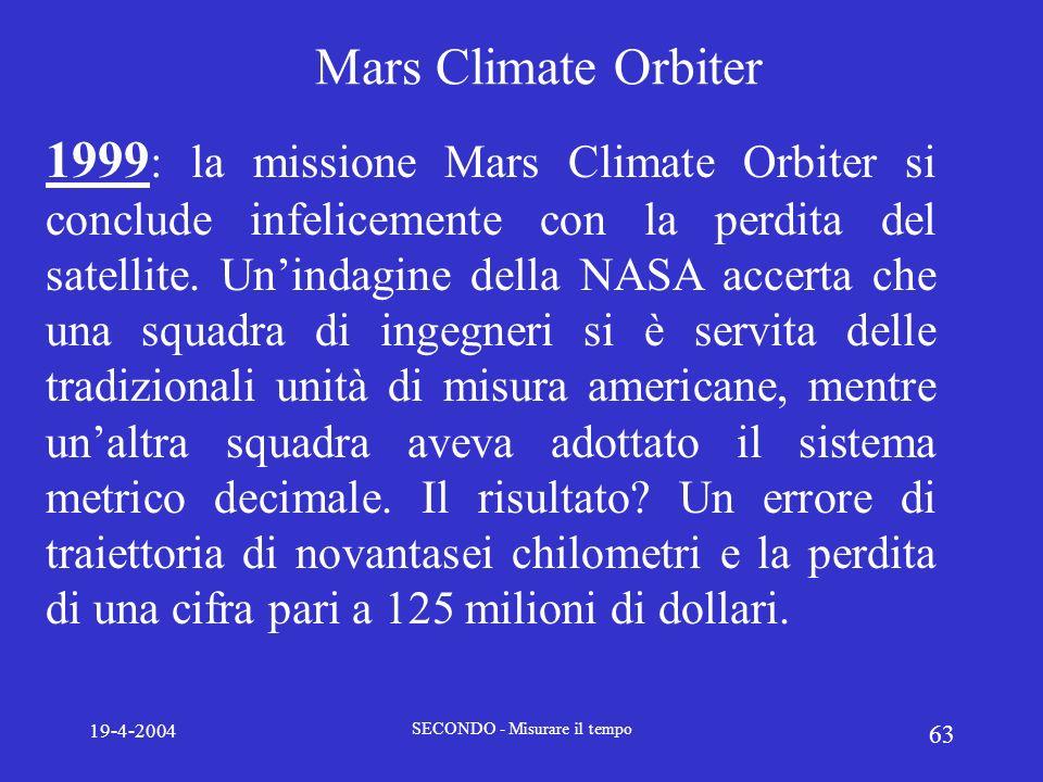 19-4-2004 SECONDO - Misurare il tempo 63 Mars Climate Orbiter 1999 : la missione Mars Climate Orbiter si conclude infelicemente con la perdita del sat