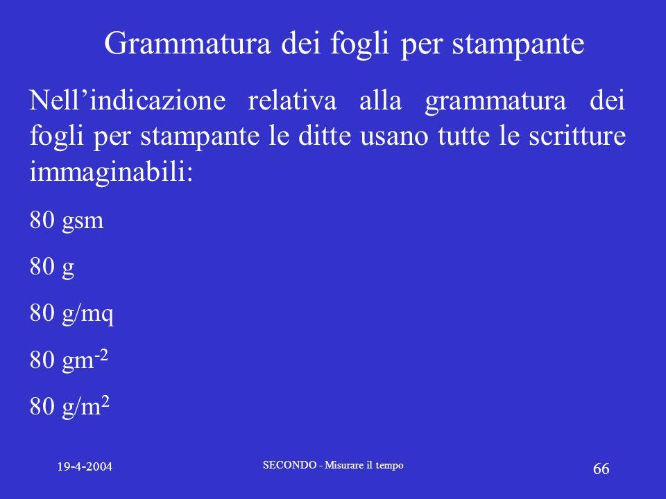 19-4-2004 SECONDO - Misurare il tempo 66 Grammatura dei fogli per stampante Nellindicazione relativa alla grammatura dei fogli per stampante le ditte
