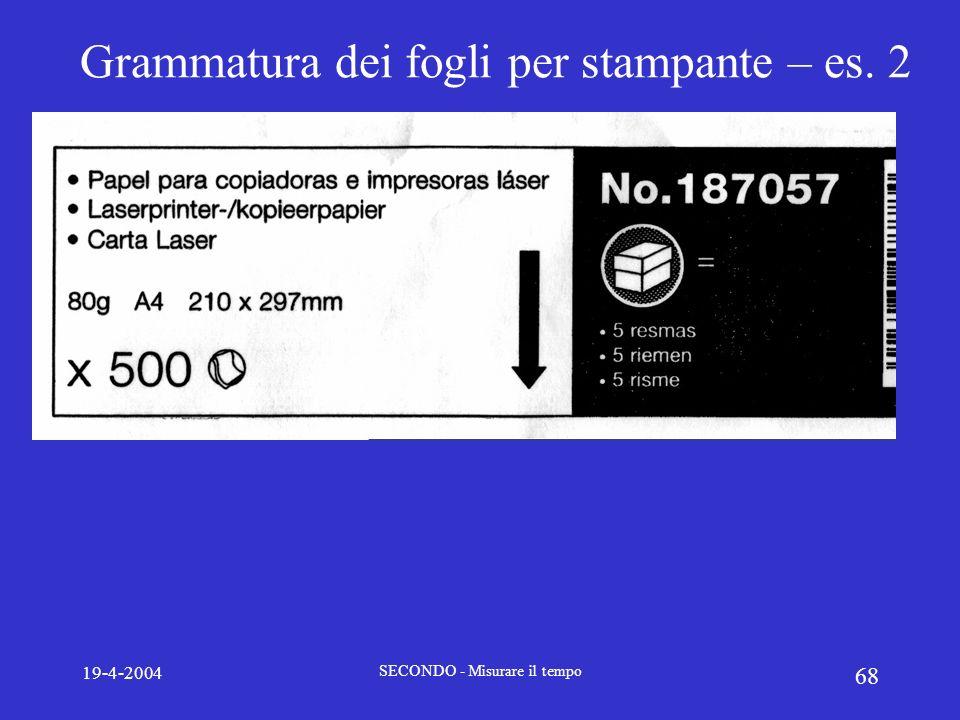 19-4-2004 SECONDO - Misurare il tempo 68 Grammatura dei fogli per stampante – es. 2