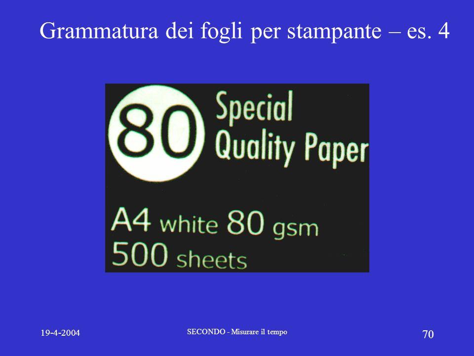 19-4-2004 SECONDO - Misurare il tempo 70 Grammatura dei fogli per stampante – es. 4
