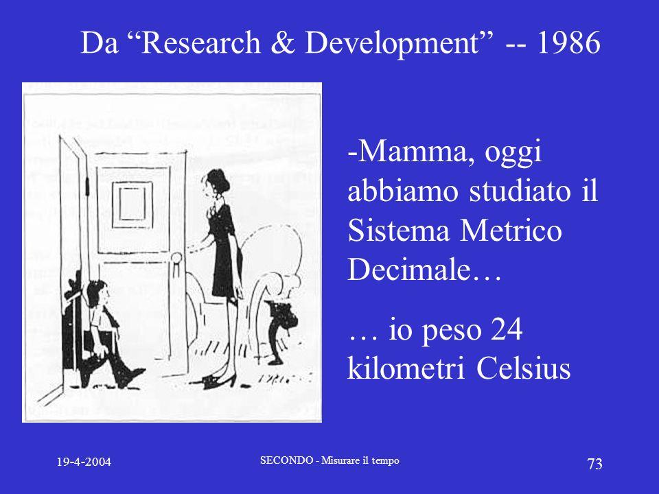 19-4-2004 SECONDO - Misurare il tempo 73 Da Research & Development -- 1986 -Mamma, oggi abbiamo studiato il Sistema Metrico Decimale… … io peso 24 kil