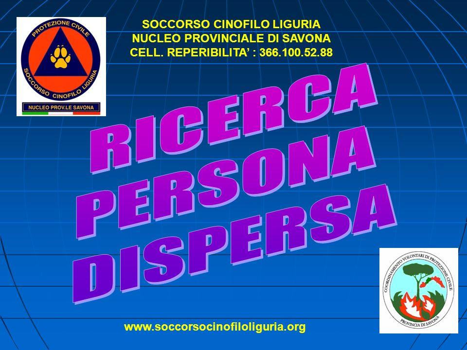 SOCCORSO CINOFILO LIGURIA NUCLEO PROVINCIALE DI SAVONA CELL.