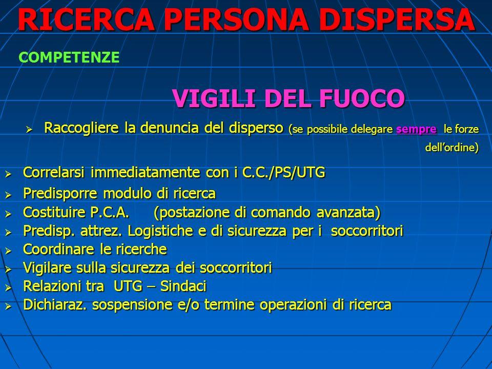 RICERCA PERSONA DISPERSA RICERCA A TAPPETO DEVE ESSERE SISTEMATICA SENZA LASCIARE ZONE SCOPERTE