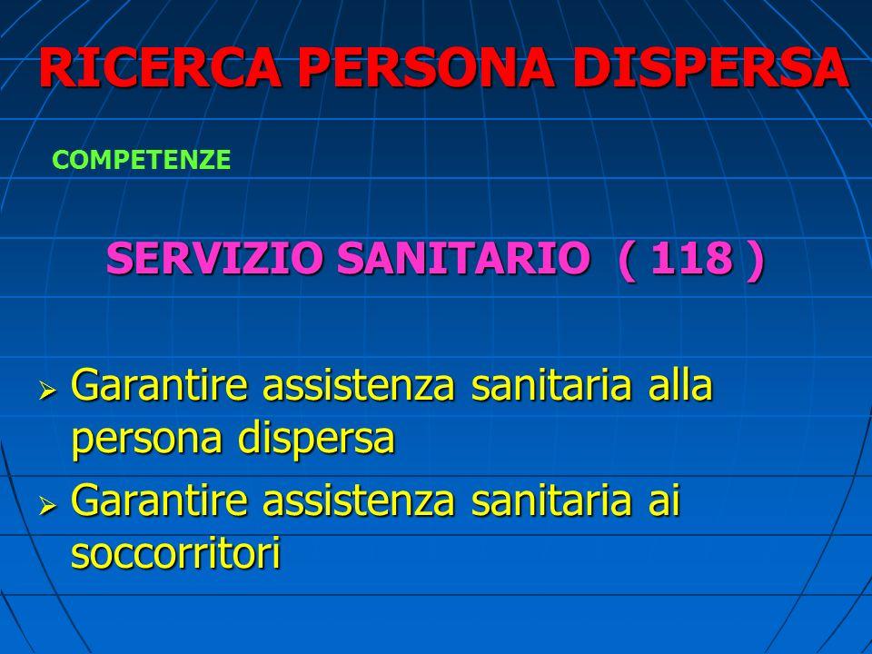 RICERCA PERSONA DISPERSA SERVIZIO SANITARIO ( 118 ) Garantire assistenza sanitaria alla persona dispersa Garantire assistenza sanitaria alla persona dispersa Garantire assistenza sanitaria ai soccorritori Garantire assistenza sanitaria ai soccorritori COMPETENZE