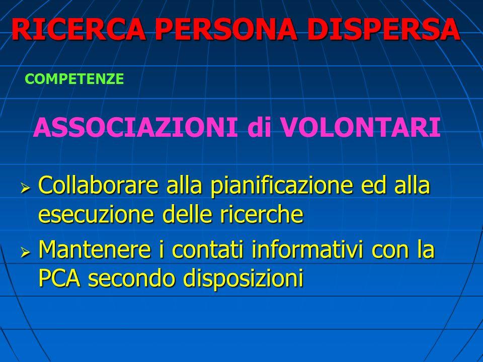 RICERCA PERSONA DISPERSA SERVIZIO SANITARIO ( 118 ) Garantire assistenza sanitaria alla persona dispersa Garantire assistenza sanitaria alla persona d