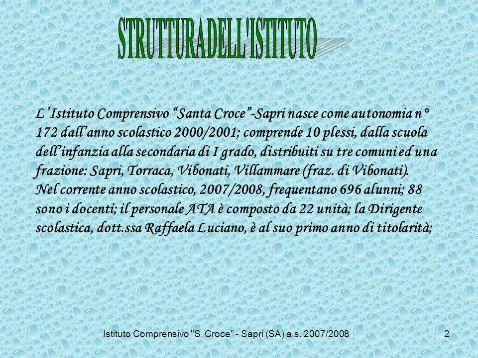 LIstituto Comprensivo Santa Croce-Sapri nasce come autonomia n° 172 dallanno scolastico 2000/2001; comprende 10 plessi, dalla scuola dellinfanzia alla