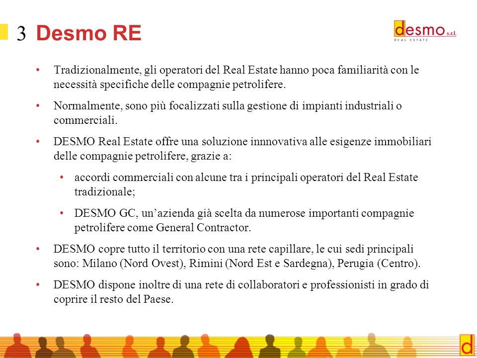 3 Desmo RE Tradizionalmente, gli operatori del Real Estate hanno poca familiarità con le necessità specifiche delle compagnie petrolifere.