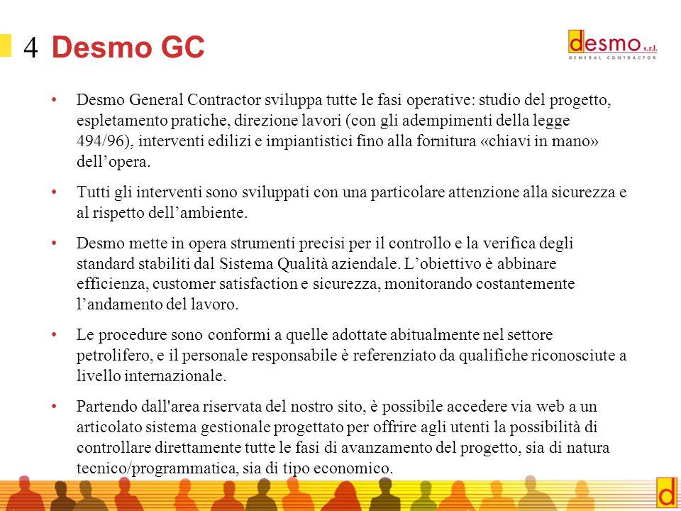4 Desmo GC Desmo General Contractor sviluppa tutte le fasi operative: studio del progetto, espletamento pratiche, direzione lavori (con gli adempimenti della legge 494/96), interventi edilizi e impiantistici fino alla fornitura «chiavi in mano» dellopera.
