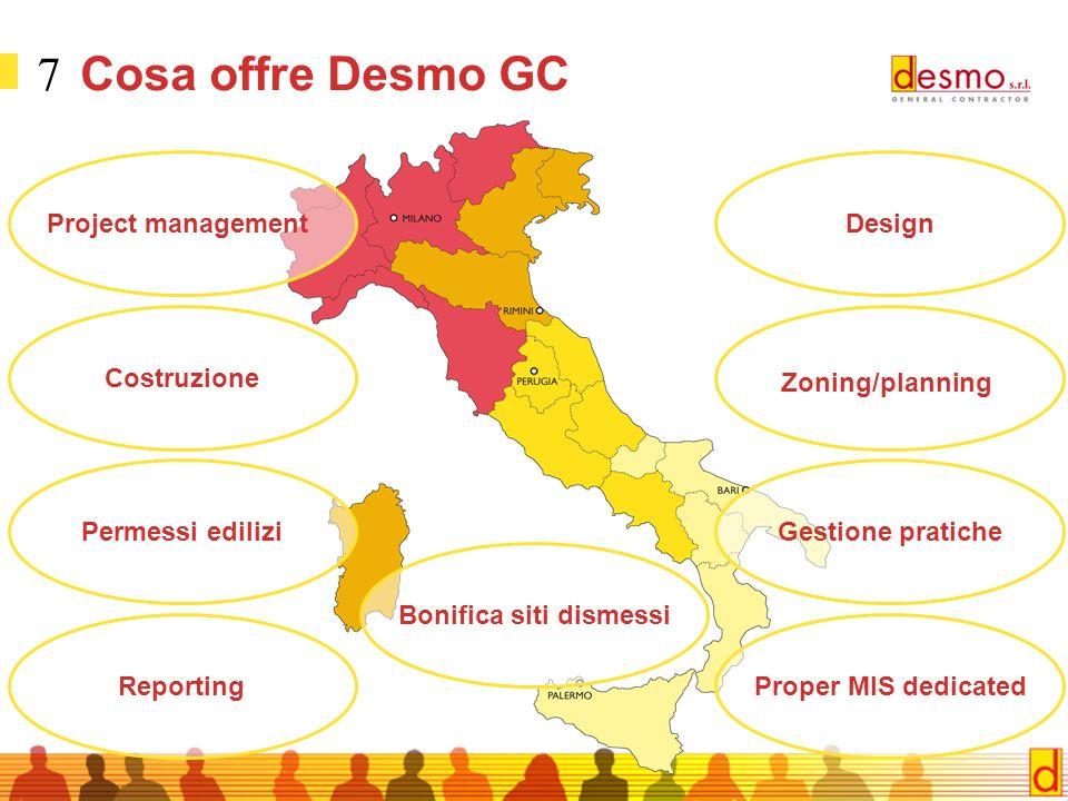 7 Cosa offre Desmo GC Costruzione Project management Zoning/planning Gestione pratiche Design Permessi edilizi ReportingProper MIS dedicated Bonifica siti dismessi
